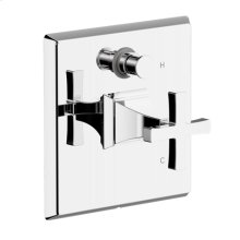 Leyden Pressure-balance Valve with Diverter Trim with Cross Handle - Polished Chrome