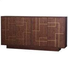 HANOVER SIDEBOARD  Brown Finish on Hardwood with Gold Accents  4 Door