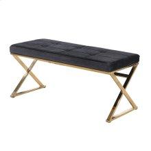 Black/gold Velveteen Bench, X Legs, Kd