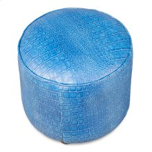 Round Footrest, Embossed Croc Blue Lthr