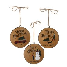Faux Wood Disc Holiday Text Ornament. (6 pc. ppk.)