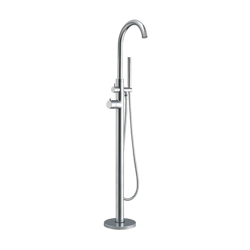 Bathhaus freestanding single-lever tub filler with integrated diverter valve and handheld shower spray.