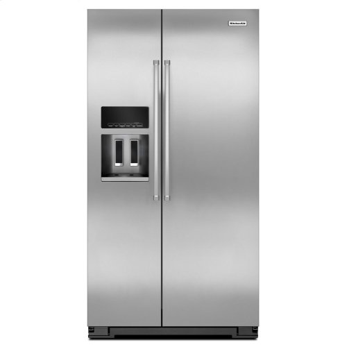 20 Cu. Ft. Counter Depth Side-by-Side Refrigerator with Exterior Ice and Water - Monochromatic Stainless Steel - Floor Model
