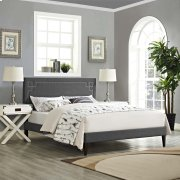 Ruthie Queen Fabric Platform Bed with Squared Tapered Legs in Gray Product Image