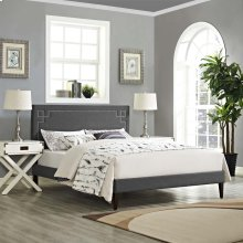 Ruthie Queen Fabric Platform Bed with Squared Tapered Legs in Gray