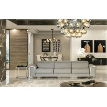 Accenti Italia Vogue Italian Modern Grey & White Sofa w/ Electric Recliner