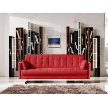 Divani Casa Tejon Modern Red Fabric Sofa Bed