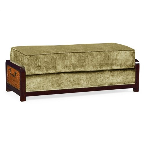 Sonokelling & Brown Rattan Ottoman, Upholstered in Lime Velvet; Pairs with 500078-44L-SKL-F004