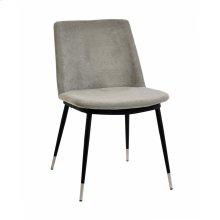 Evora Grey Velvet Chair - Silver Legs (Set of 2)