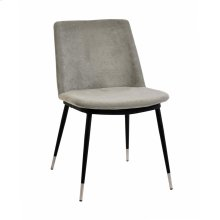 Evora Grey Velvet Chair - Silver Legs (Set of 2)
