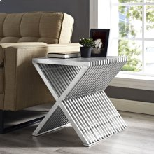 Press Stainless Steel Side Table in Silver