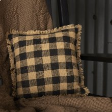 Burlap Black Check Pillow 12x12