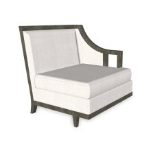 """29"""" Grey & Tan Rattan Left One-Seat Sofa Sectional, Upholstered in COM"""