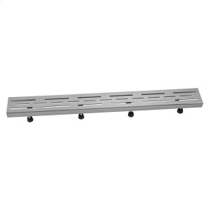 """Brushed Stainless - 24"""" Channel Drain Slotted Line Hole Grate Product Image"""