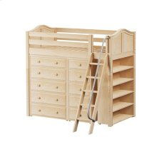 High Loft w/ Angle Ladder, 5 Drawer Dresser, Narrow 5 Drawer Dresser & Bookcase : Twin : Natural : Curved