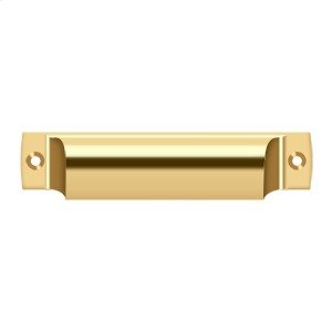 """Rectangular Shell Pull 4"""" - PVD Polished Brass Product Image"""