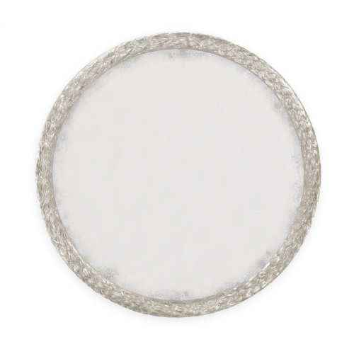 """Carved and Water Gilded Silver Leaf 48"""" Round Wall Mirror"""