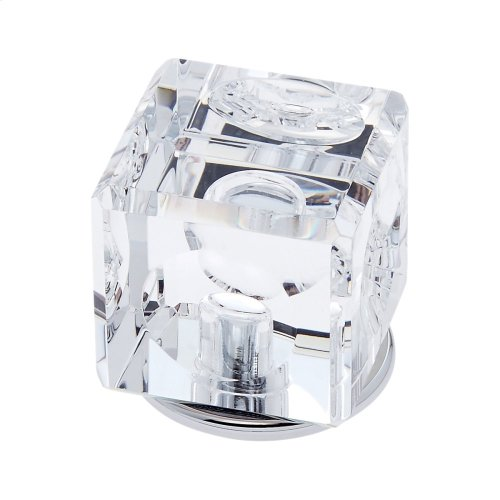 Polished Chrome 30 mm Square Crystal Knob