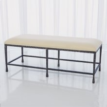 Quad Pod Bench w/Muslin Cushion-Natural Iron