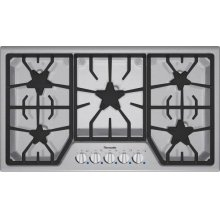 "Masterpiece 36"" Stainless steel 5-burner gas cooktop"