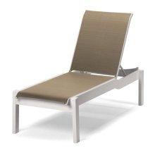 Leeward MGP Sling Lay-flat Stacking Armless Long Frame Chaise w/ Wheels