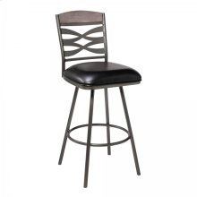 "Arden Mid-Century 30"" Bar Height Barstool in Mineral Finish with Black Faux Leather and Grey Walnut Wood Finish Back"