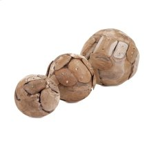 Kanza Puzzle Teak Wood Decorative Balls - Set of 3