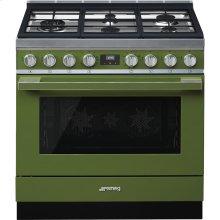 "Portofino Pro-Style Dual Fuel Range, Olive Green, 36"" x 25"""