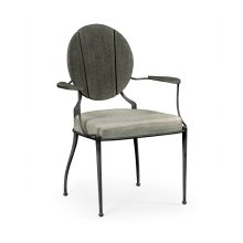 Outdoor Grey Weather Dining Armchair, Upholstered in Standard Outdoor Fabric