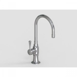 """Brushed Stainless - 7"""" Deck Mount Single Hole Swivel Bar Faucet Spout with Left Metal Contemporary Lever Product Image"""