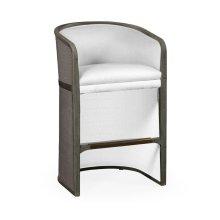 Grey & Dark Grey Rattan Tub Bar Stool, Upholstered in COM