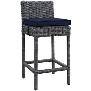 Summon Outdoor Patio Sunbrella® Bar Stool in Canvas Navy