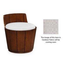 Walnut Outdoor Bucket Stool, Upholstered in Standard Outdoor Fabric