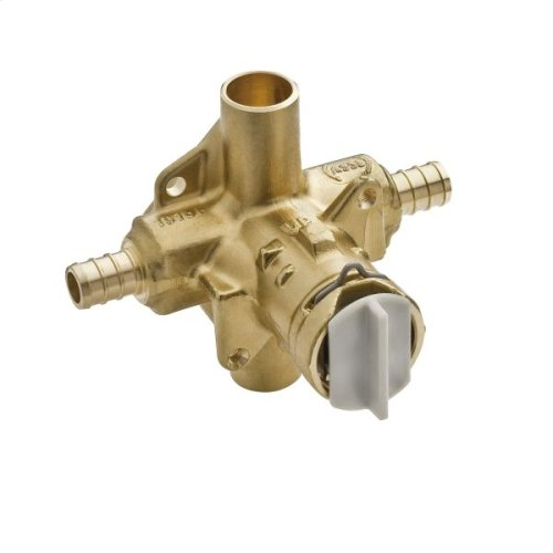 """M-Pact includes bulk pack posi-temp® 1/2"""" crimp ring pex inlets/cc outlets connection pressure balancing"""