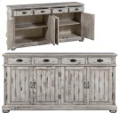 Hawthorne Estate 4 Drawer / 4 Door Wood Sideboard Distressed White Finish Product Image