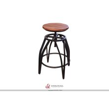 "24-30"" Adjustable Swivel Stool, Parota wooden seat, Iron base Black w/Silver flashes"