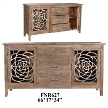 Bengal Manor Acacia Wood and Aluminum 2 Door 3 Drawer Sideboard