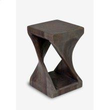 (LS) Riley Side Table Twist Design In Grey Wash (12x12x24)