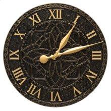 """Artisan 16"""" Indoor Outdoor Wall Clock - Black/Gold"""