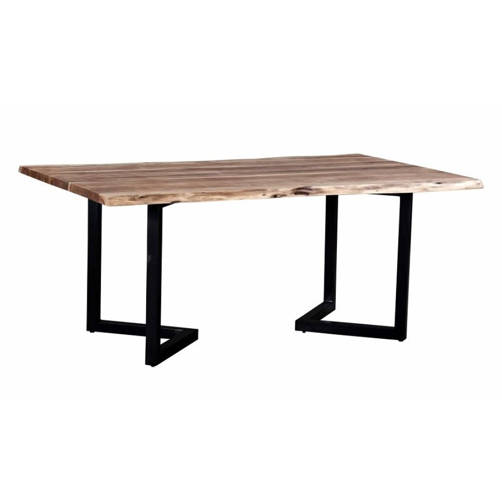 Crossover Acacia Live Edge Dining Table with different bases, SB-AUT-42C