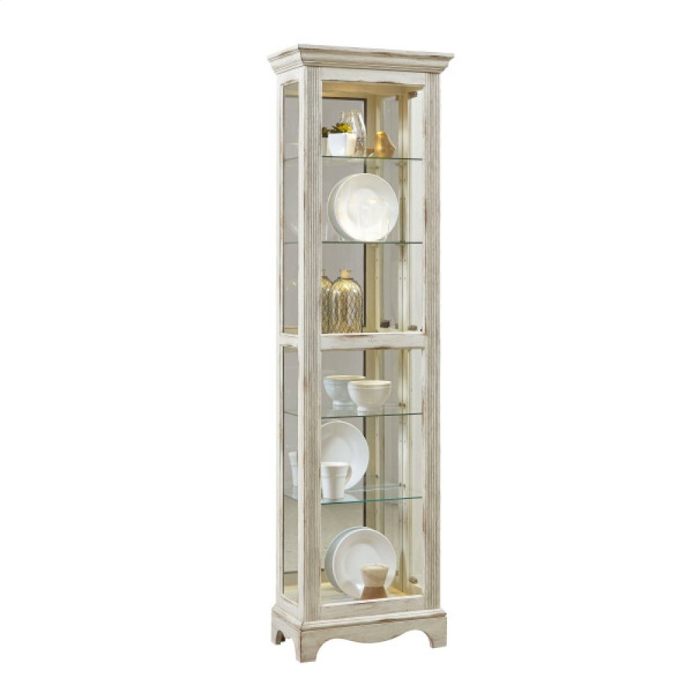 Side Entry 5 Shelf Curio Cabinet in Weathered White