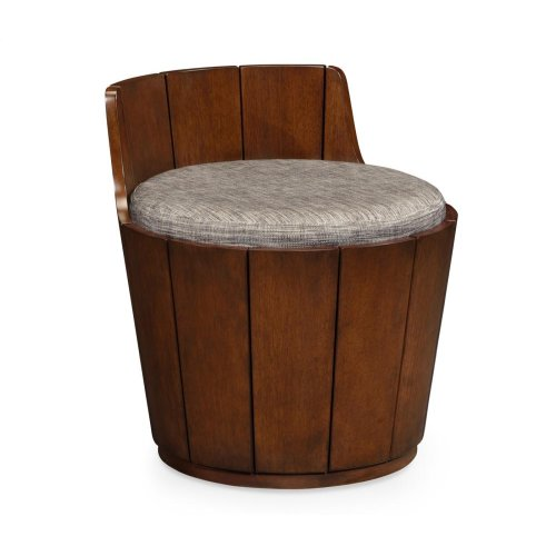 Walnut Outdoor Bucket Stool, Upholstered in COM