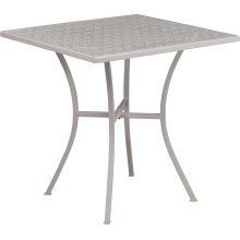 "Commercial Grade 28"" Square Light Gray Indoor-Outdoor Steel Patio Table"