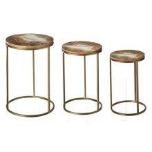 Faux Agate Enamel Top Side Table (3 pc. set)