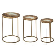 Faux Agate Enamel Top Side Table (3 pc. set)