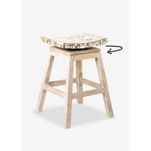 Cordova Counter Stool w/ Coconut Top-White Wash (17x17x24) (Assembly Required)