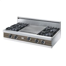 """Stone Gray 42"""" Open Burner Rangetop - VGRT (42"""" wide, four burners 18"""" wide griddle/simmer plate)"""