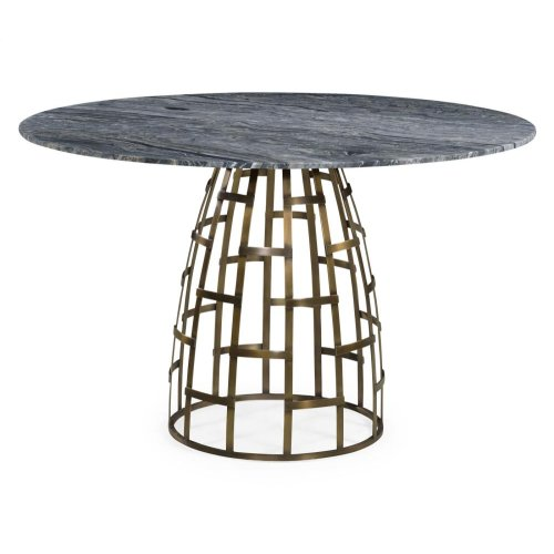 Dining Table with Geometric Antique Brass Base And 51D Marble Top