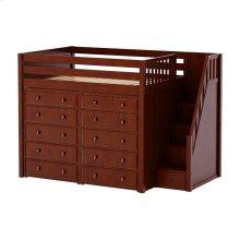 High Loft w/ Staircase & 2 x 5 Drawer Dressers : Full : Chestnut : Panel