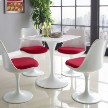 """Lippa 28"""" Square Wood Top Dining Table in White"""